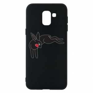 Phone case for Samsung J6 Embarrassed black bunny - PrintSalon