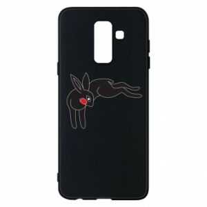 Phone case for Samsung A6+ 2018 Embarrassed black bunny - PrintSalon