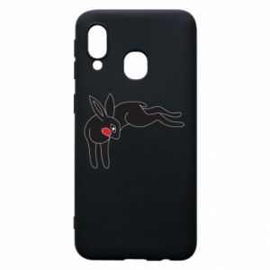 Phone case for Samsung A40 Embarrassed black bunny - PrintSalon