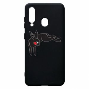 Phone case for Samsung A60 Embarrassed black bunny - PrintSalon