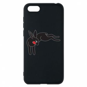 Phone case for Huawei Y5 2018 Embarrassed black bunny - PrintSalon