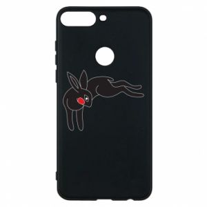 Phone case for Huawei Y7 Prime 2018 Embarrassed black bunny - PrintSalon