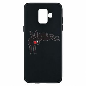 Phone case for Samsung A6 2018 Embarrassed black bunny - PrintSalon