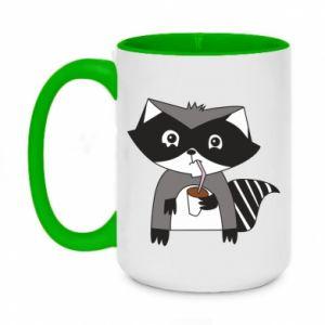 Kubek dwukolorowy 450ml Embarrassed raccoon with glass
