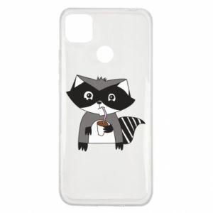 Etui na Xiaomi Redmi 9c Embarrassed raccoon with glass