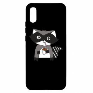 Etui na Xiaomi Redmi 9a Embarrassed raccoon with glass