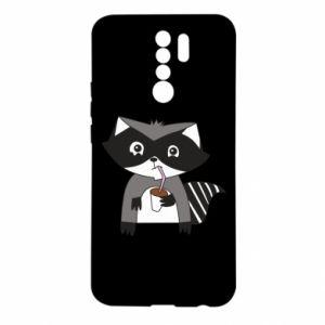 Etui na Xiaomi Redmi 9 Embarrassed raccoon with glass