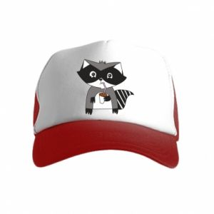 Czapka trucker dziecięca Embarrassed raccoon with glass