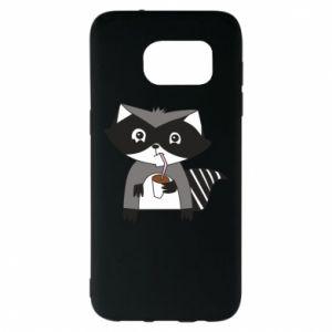 Etui na Samsung S7 EDGE Embarrassed raccoon with glass
