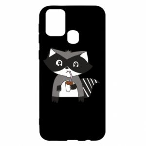 Etui na Samsung M31 Embarrassed raccoon with glass