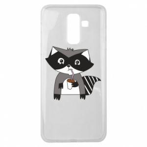 Etui na Samsung J8 2018 Embarrassed raccoon with glass