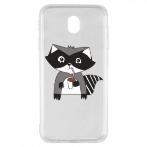 Etui na Samsung J7 2017 Embarrassed raccoon with glass