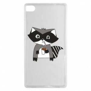 Etui na Huawei P8 Embarrassed raccoon with glass