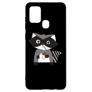 Etui na Samsung A21s Embarrassed raccoon with glass