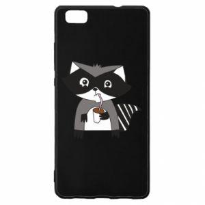 Etui na Huawei P 8 Lite Embarrassed raccoon with glass