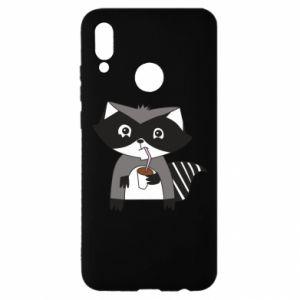 Etui na Huawei P Smart 2019 Embarrassed raccoon with glass