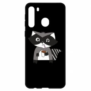 Etui na Samsung A21 Embarrassed raccoon with glass