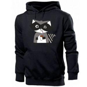 Męska bluza z kapturem Embarrassed raccoon with glass