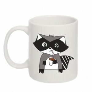 Kubek 330ml Embarrassed raccoon with glass