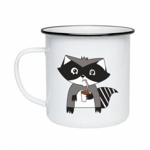 Kubek emaliowany Embarrassed raccoon with glass