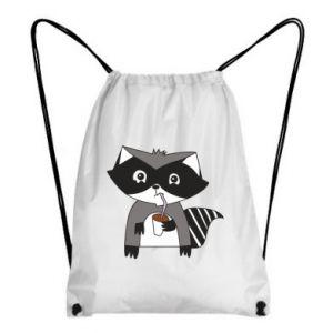 Plecak-worek Embarrassed raccoon with glass