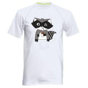 Koszulka sportowa męska Embarrassed raccoon with glass