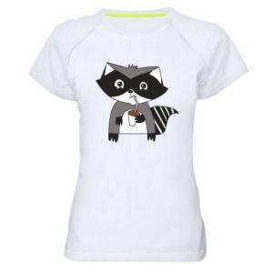 Koszulka sportowa damska Embarrassed raccoon with glass