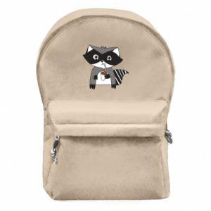 Plecak z przednią kieszenią Embarrassed raccoon with glass