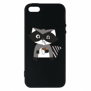 Etui na iPhone 5/5S/SE Embarrassed raccoon with glass