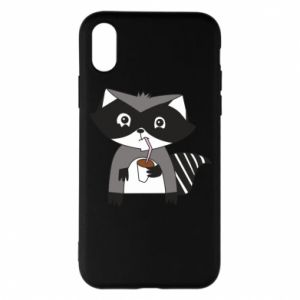 Etui na iPhone X/Xs Embarrassed raccoon with glass