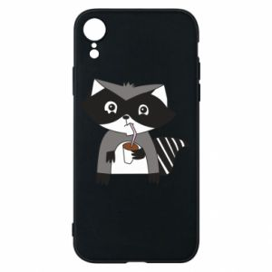 Etui na iPhone XR Embarrassed raccoon with glass