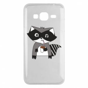 Phone case for Samsung J3 2016 Embarrassed raccoon with glass