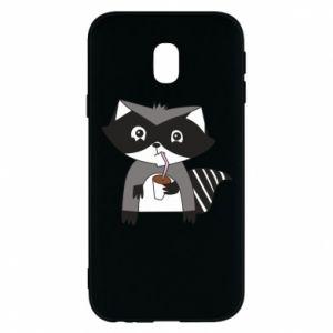 Etui na Samsung J3 2017 Embarrassed raccoon with glass
