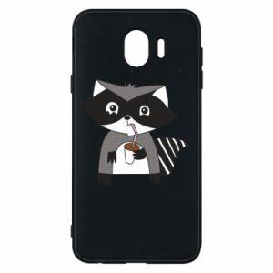 Etui na Samsung J4 Embarrassed raccoon with glass