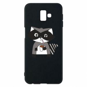 Etui na Samsung J6 Plus 2018 Embarrassed raccoon with glass