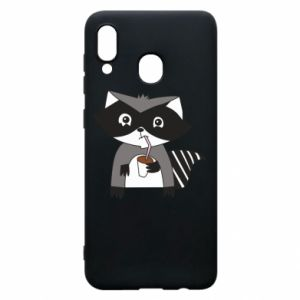 Etui na Samsung A20 Embarrassed raccoon with glass