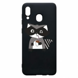 Etui na Samsung A30 Embarrassed raccoon with glass