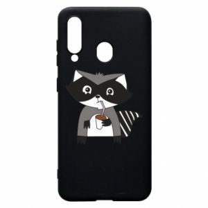 Etui na Samsung A60 Embarrassed raccoon with glass
