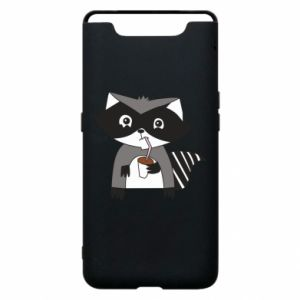Etui na Samsung A80 Embarrassed raccoon with glass