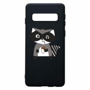Etui na Samsung S10 Embarrassed raccoon with glass