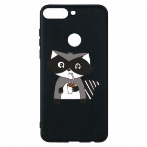 Etui na Huawei Y7 Prime 2018 Embarrassed raccoon with glass