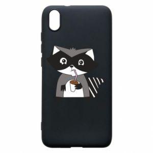 Etui na Xiaomi Redmi 7A Embarrassed raccoon with glass