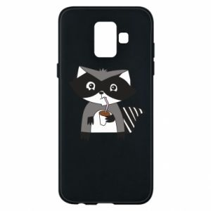 Etui na Samsung A6 2018 Embarrassed raccoon with glass