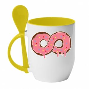 Mug with ceramic spoon Endless donut - PrintSalon