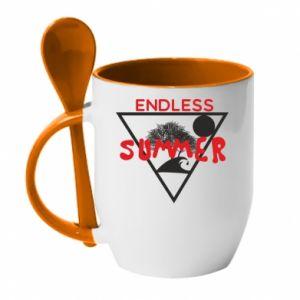 Kubek z ceramiczną łyżeczką Endless summer