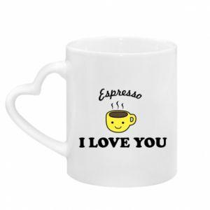 Kubek z uchwytem w kształcie serca Espresso. I love you