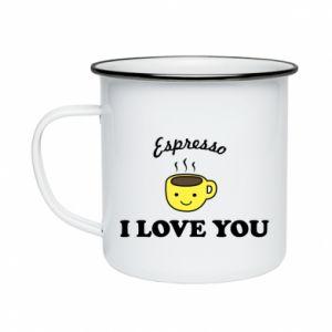 Kubek emaliowane Espresso. I love you