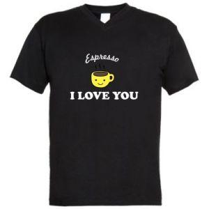 Męska koszulka V-neck Espresso. I love you