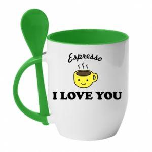 Kubek z ceramiczną łyżeczką Espresso. I love you