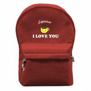 Plecak z przednią kieszenią Espresso. I love you